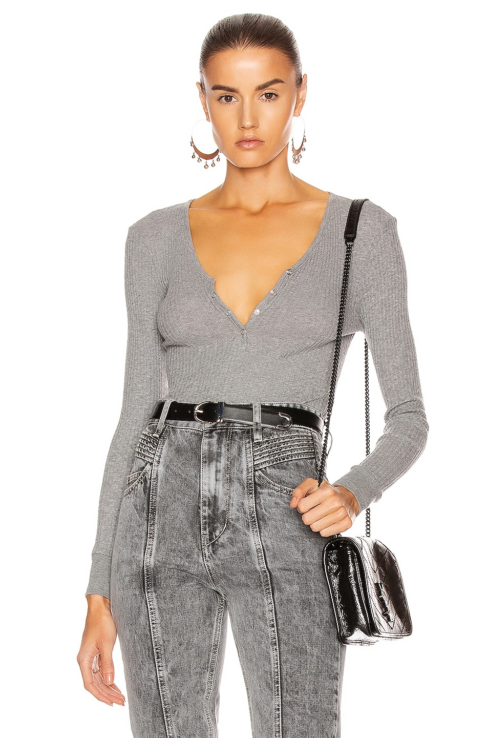 Image 1 of Enza Costa Cashmere Pointelle Long Sleeve Henley in Smoke