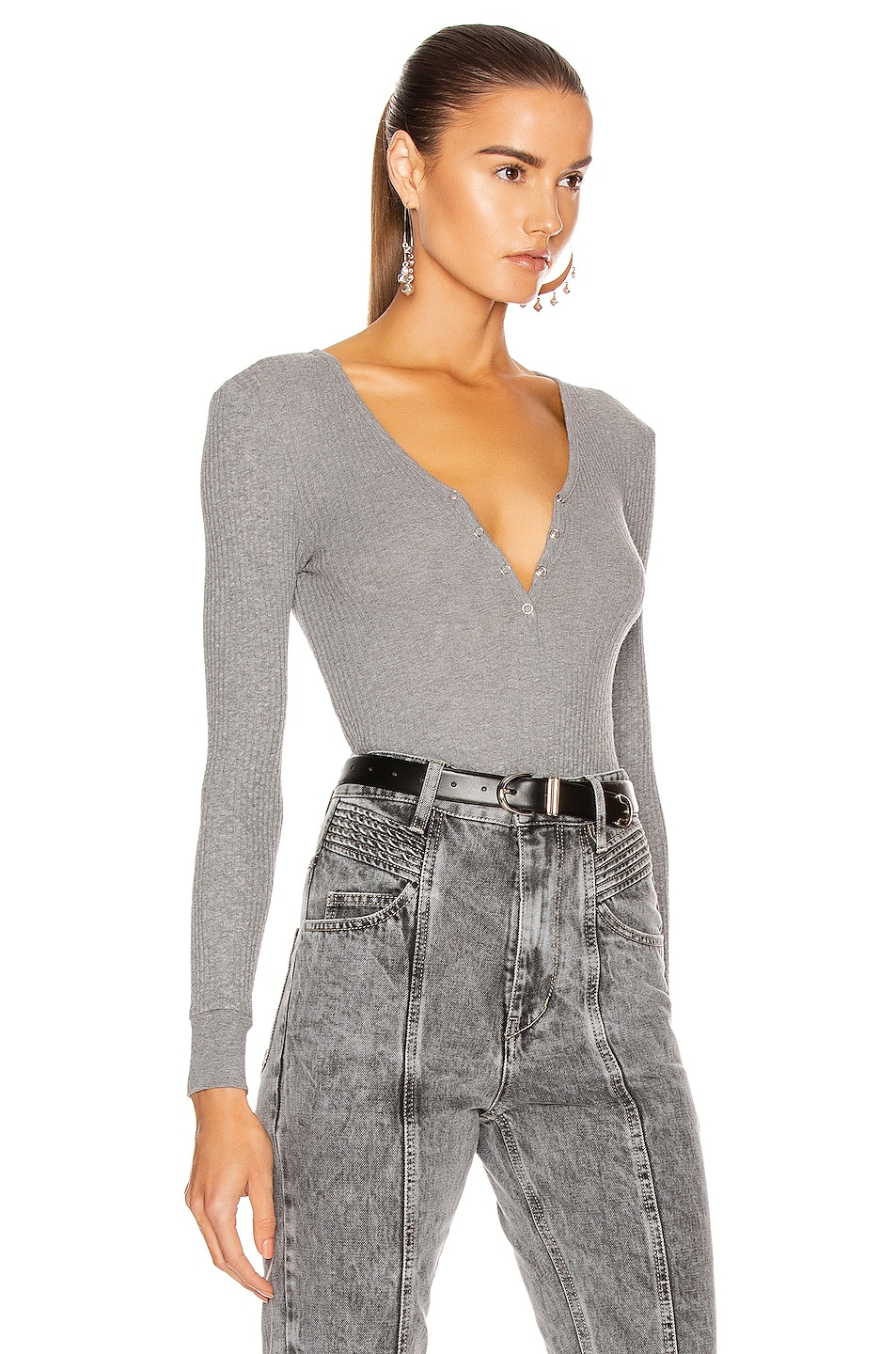 Image 2 of Enza Costa Cashmere Pointelle Long Sleeve Henley in Smoke