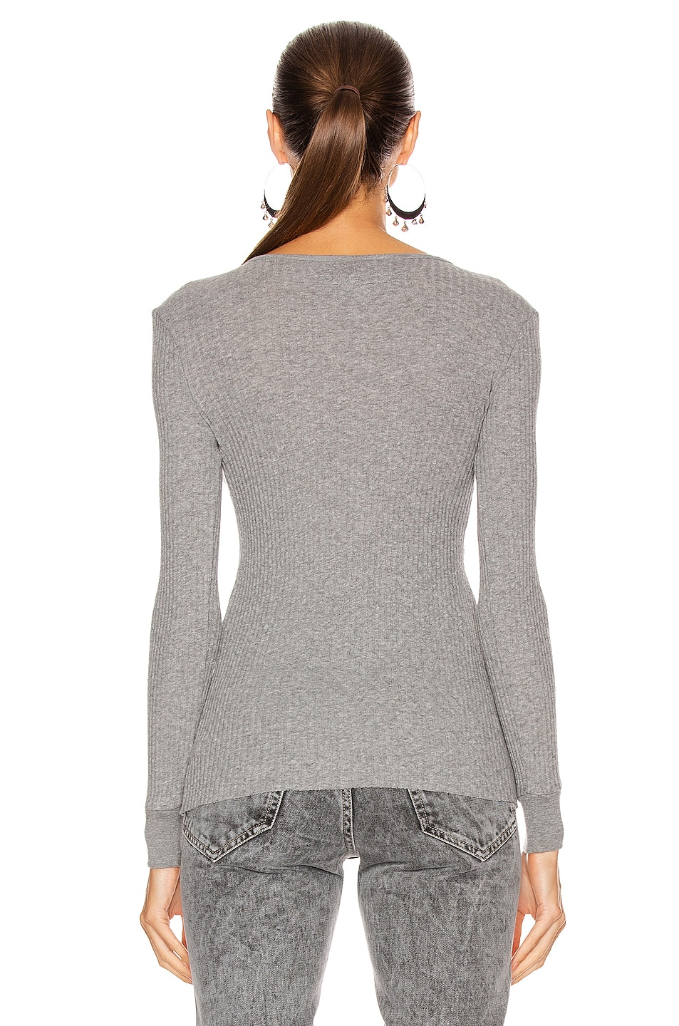 Image 3 of Enza Costa Cashmere Pointelle Long Sleeve Henley in Smoke