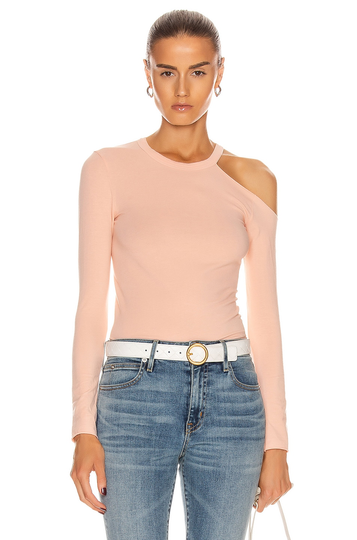 Image 1 of Enza Costa for FWRD Exposed Shoulder Top in Peach Cream