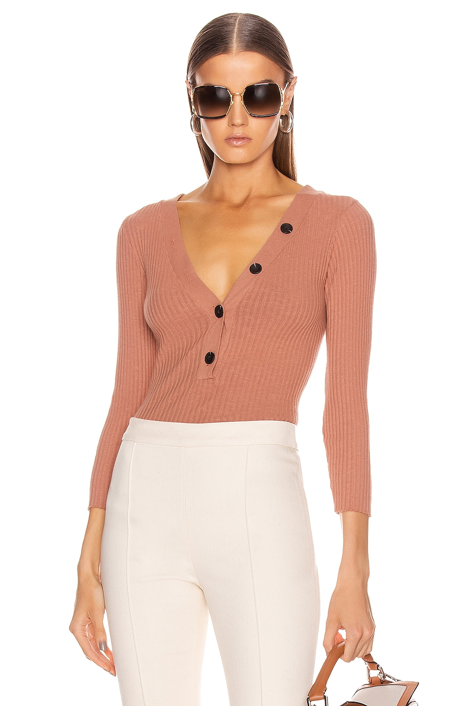 Image 1 of Enza Costa Military Cotton Rib Long Sleeve Henley in Camel