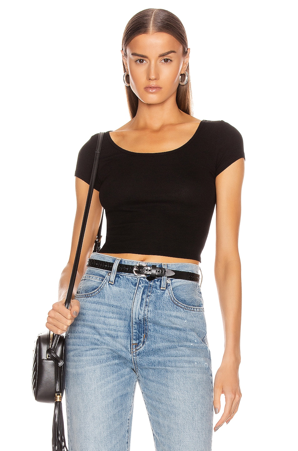 Image 1 of Enza Costa Silk Rib Cropped Cap Top in Black