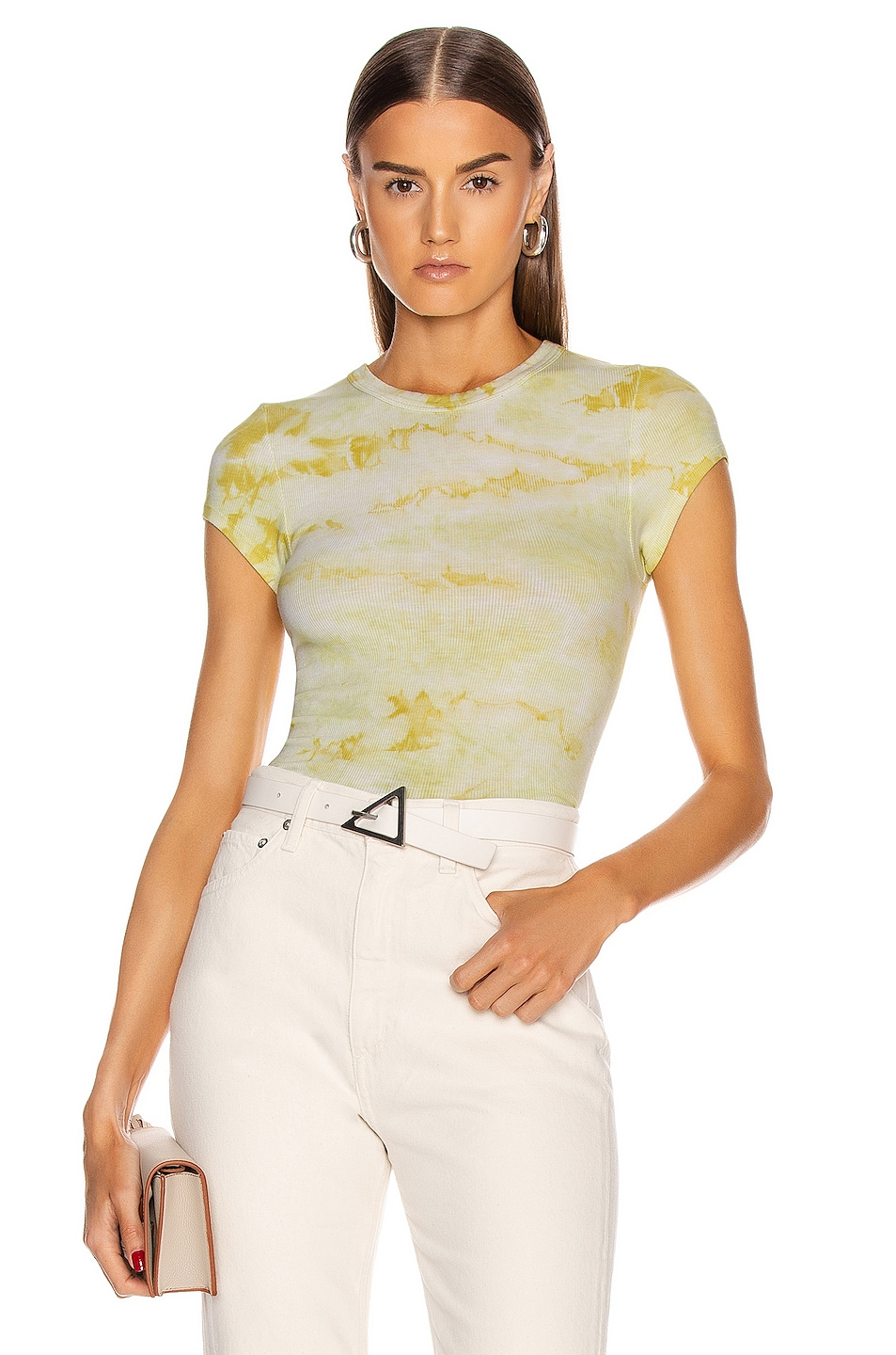 Image 1 of Enza Costa Silk Rib Cropped Cap Sleeve Crew Tee in Lime Ionic