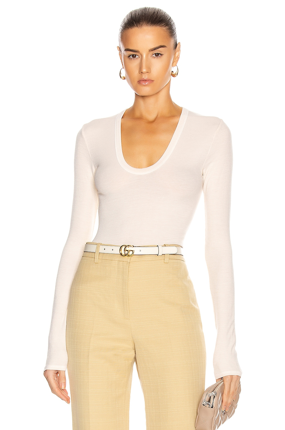 Image 1 of Enza Costa for FWRD Silk Rib Fitted Long Sleeve U Top in Natural