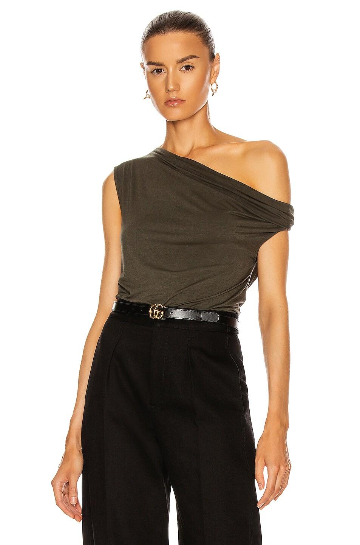 Image 1 of Enza Costa Silk Jersey Off Shoulder Top in Uniform Green
