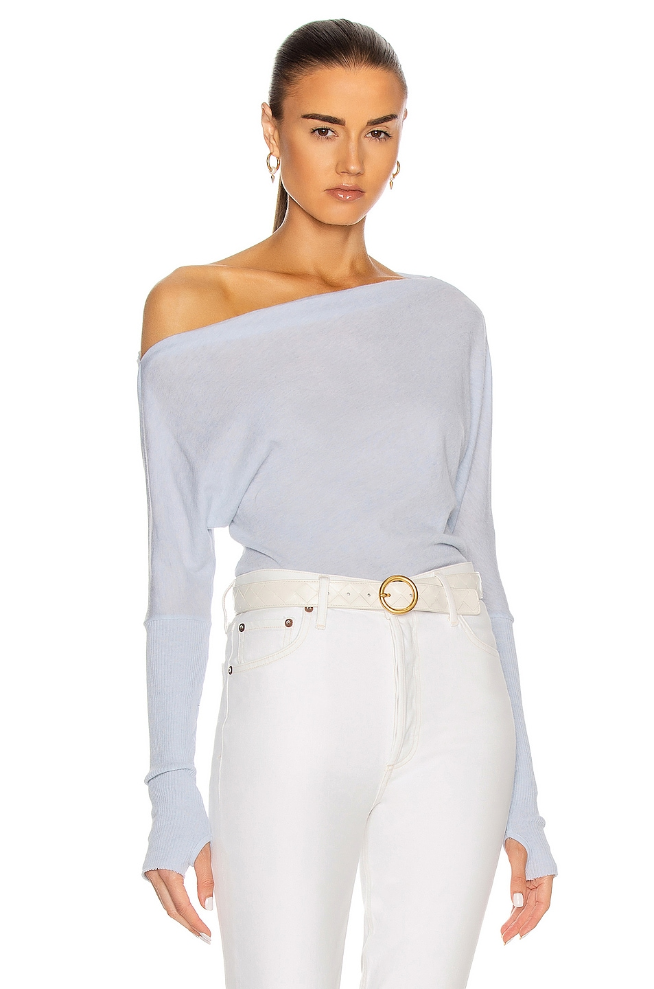 Image 1 of Enza Costa Cashmere Cuffed Off Shoulder Long Sleeve Top in Pale Blue