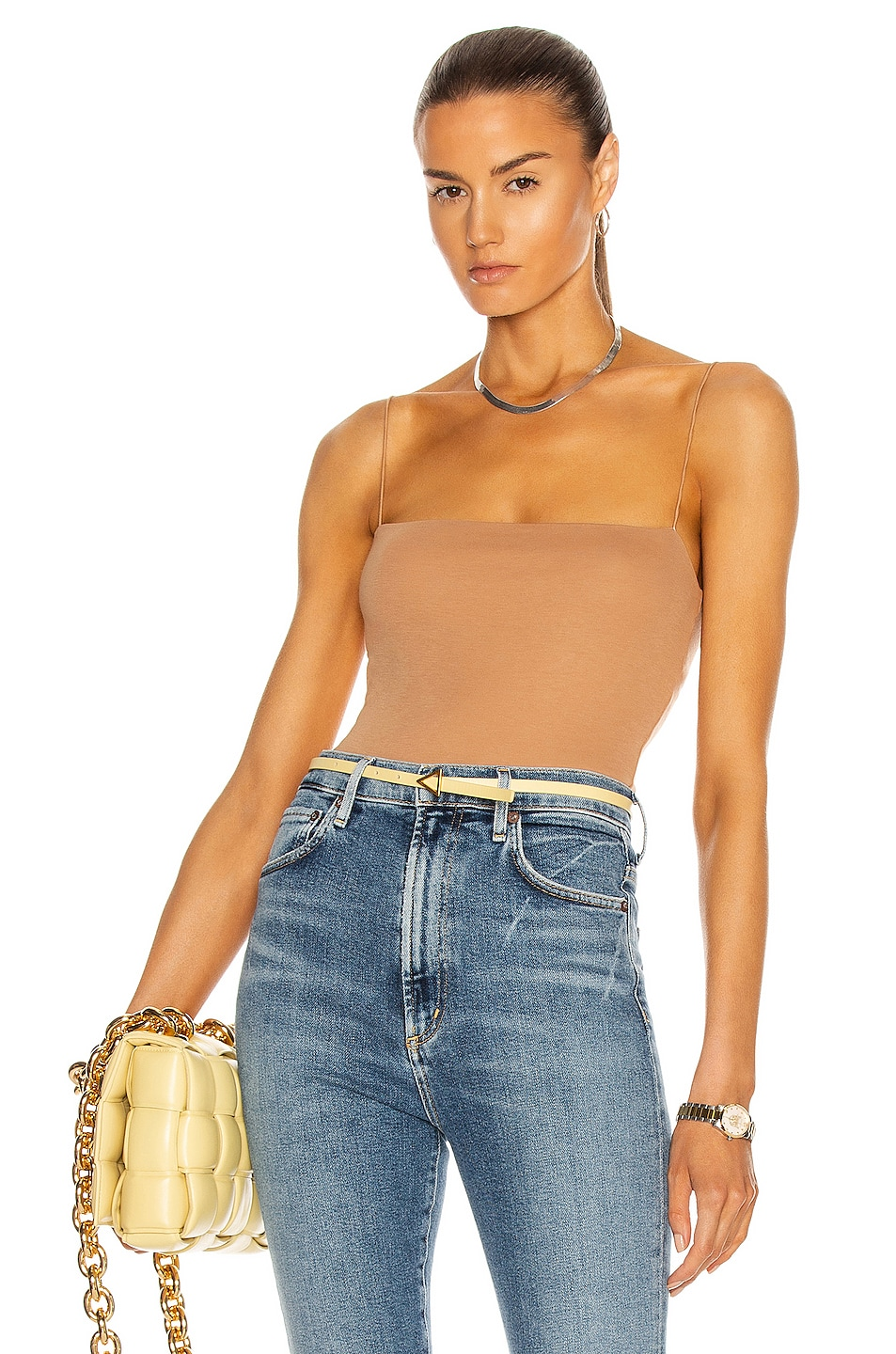 Image 1 of Enza Costa Supima Cotton Essential Strappy Tank in Pecan
