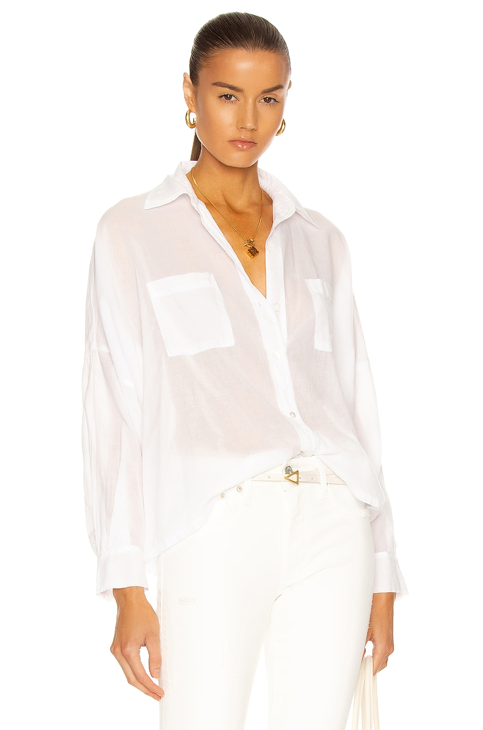 Image 1 of Enza Costa Cotton Voile Handkerchief Shirt in White