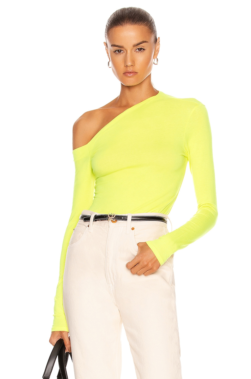Image 1 of Enza Costa Brushed Supima Jersey Angled One Shoulder Long Sleeve Top in Citron