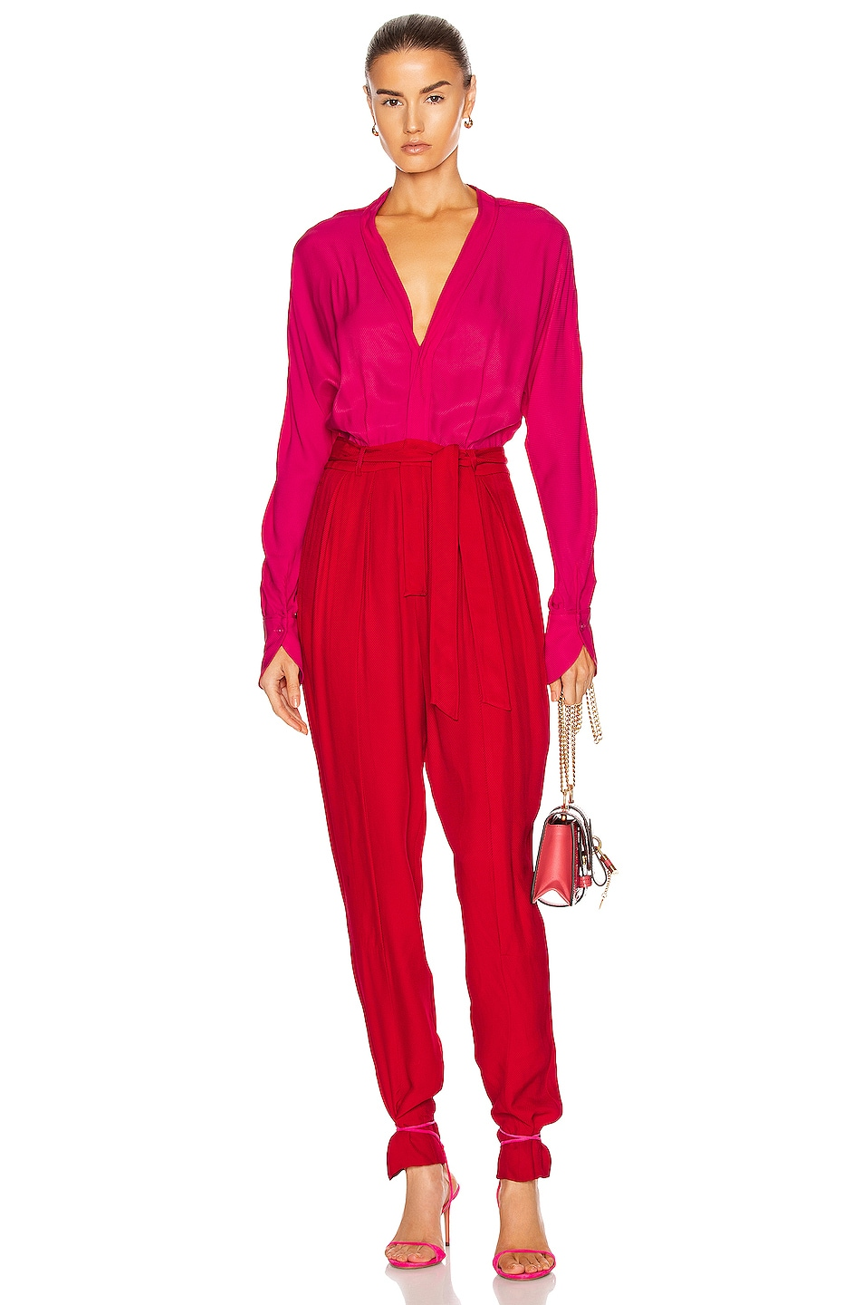 Image 1 of Equipment Zephrina Jumpsuit in Impala Lily & Haute Red