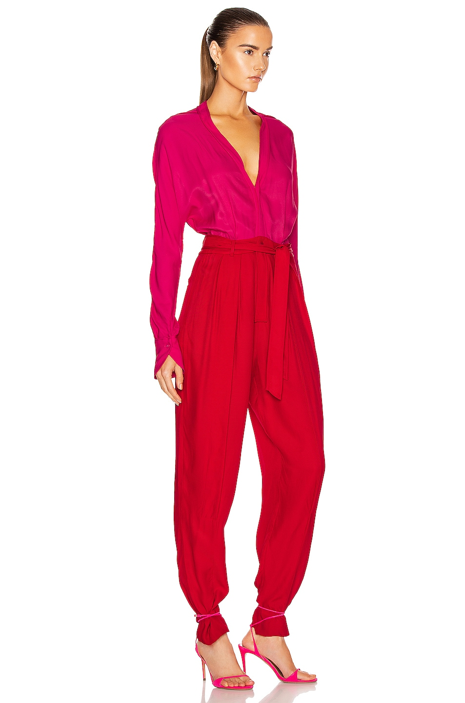 Image 2 of Equipment Zephrina Jumpsuit in Impala Lily & Haute Red