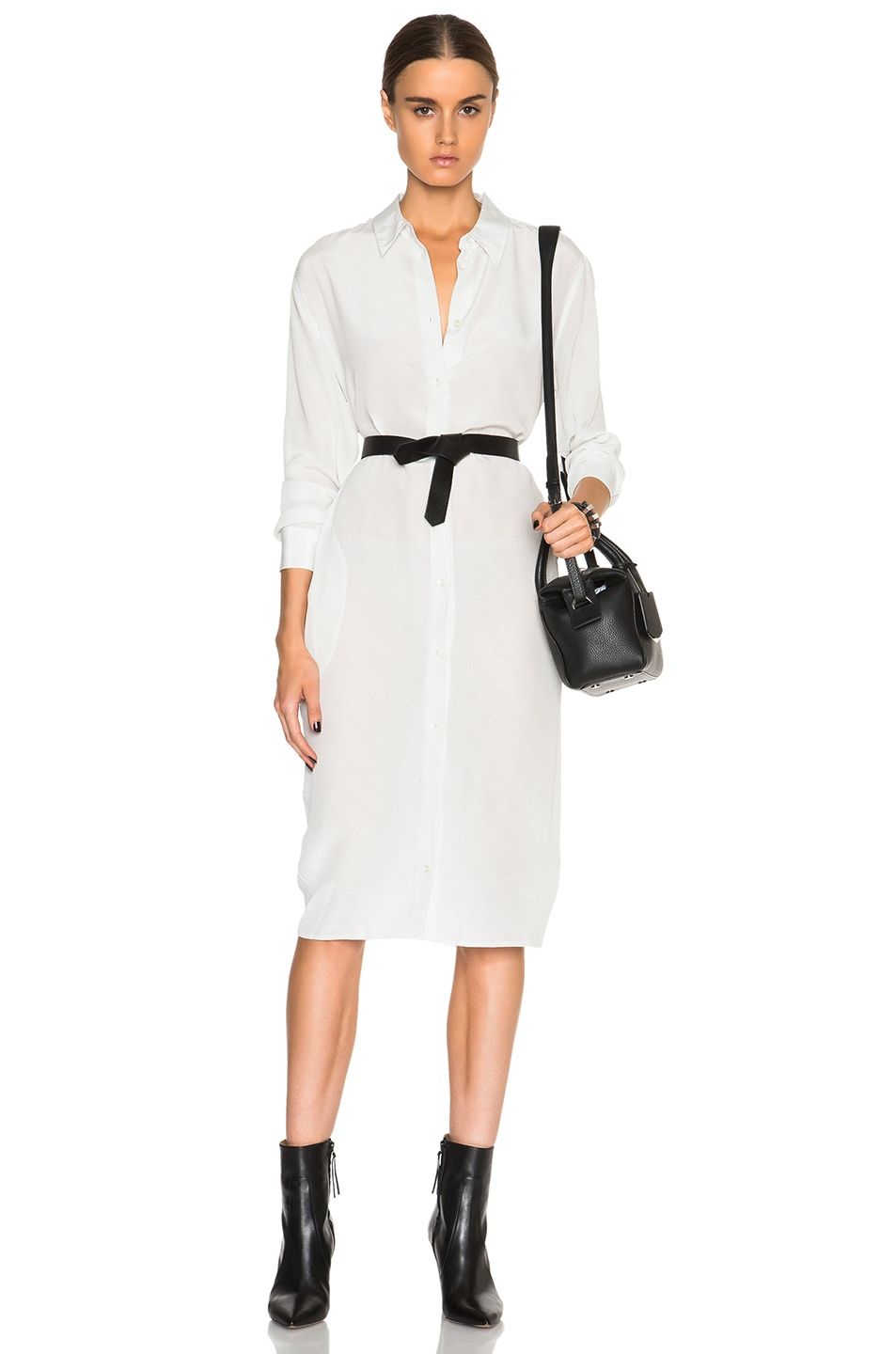 Equipment Milo Shirt Dress In Marshmallow Fwrd