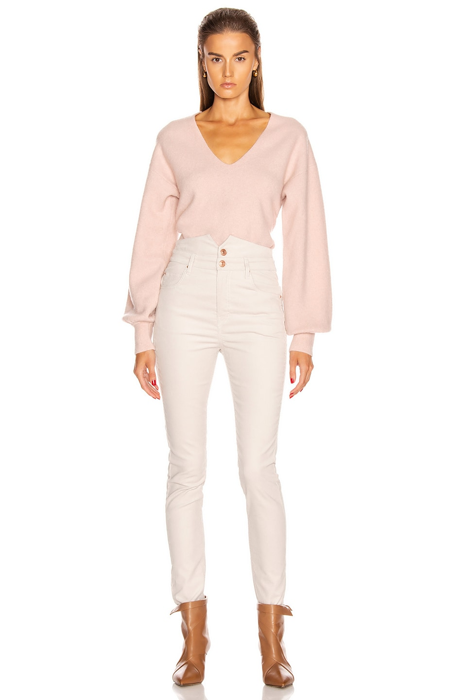 Image 4 of Equipment Liriene V Neck Sweater in Misty Rose