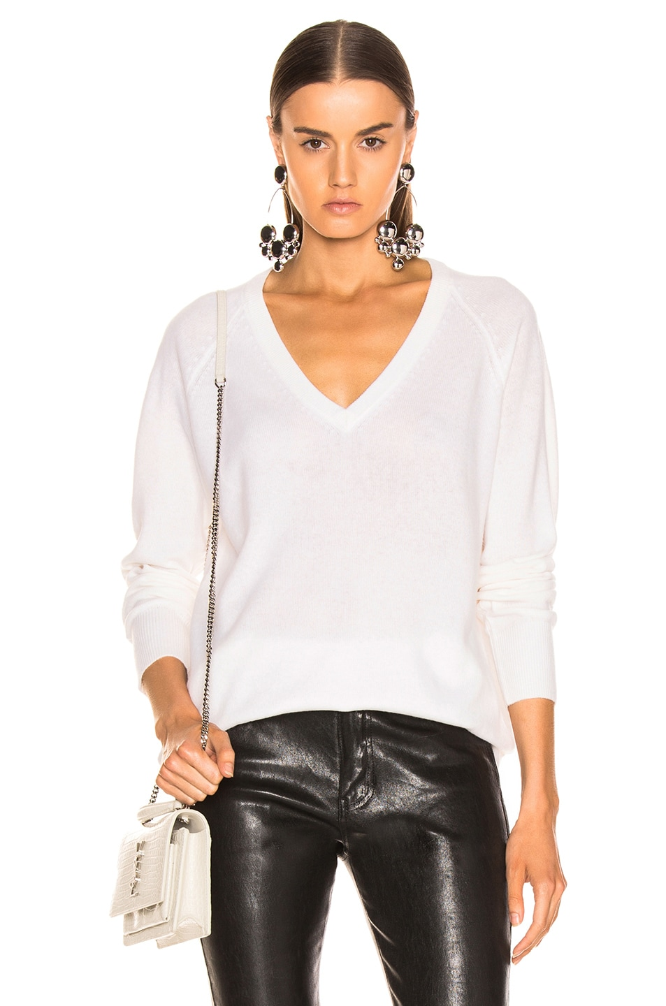 Image 1 of Equipment Asher Cashmere V Neck in Ivory