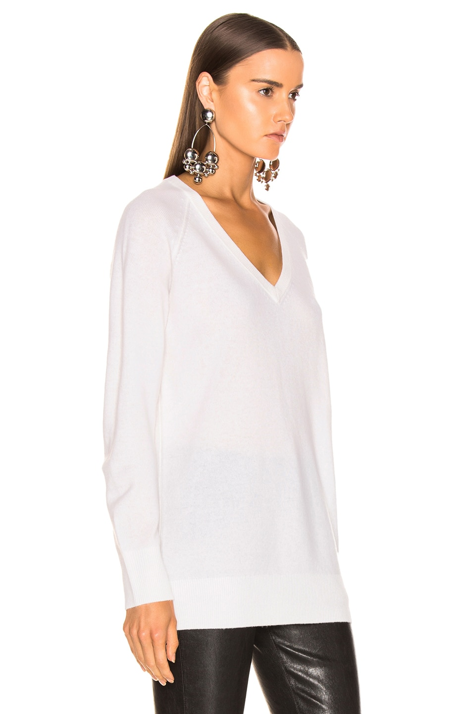 Image 2 of Equipment Asher Cashmere V Neck in Ivory