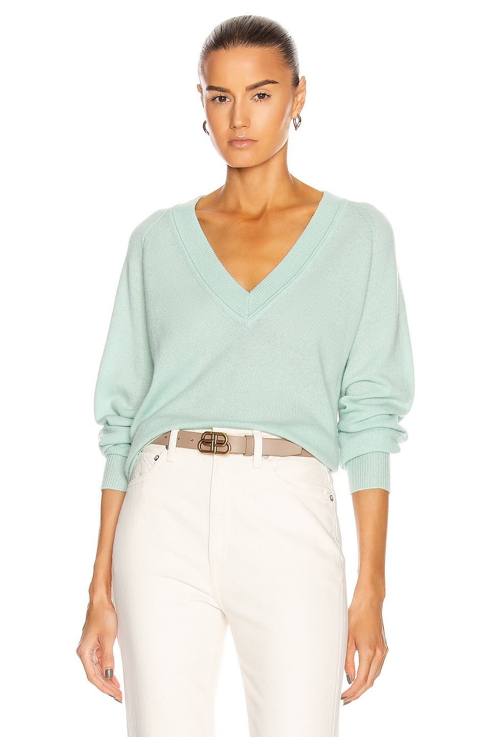 Image 1 of Equipment Madalene V-Neck Sweater in Silt Green