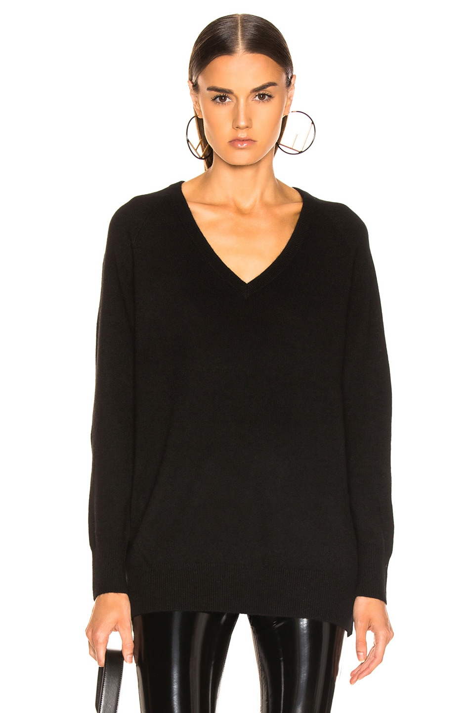 Image 1 of Equipment Asher Cashmere V Neck in Black