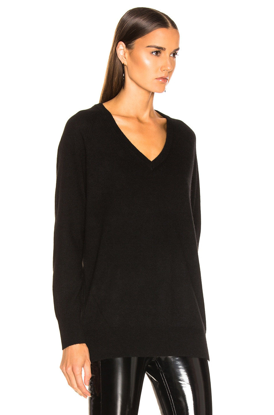Image 2 of Equipment Asher Cashmere V Neck in Black