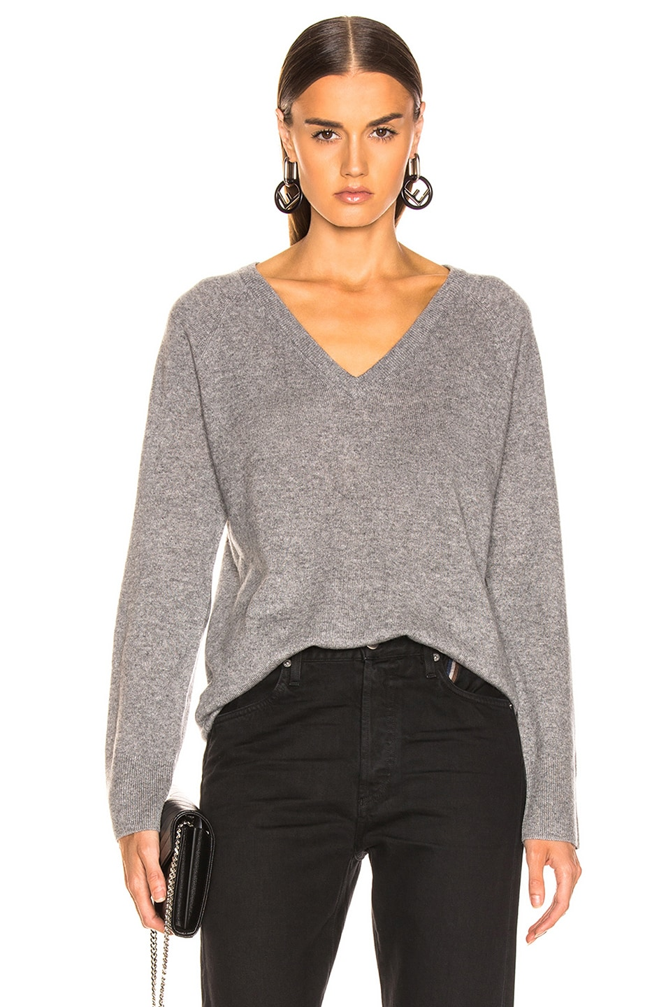 Image 1 of Equipment Asher Cashmere V Neck in Heather Gray