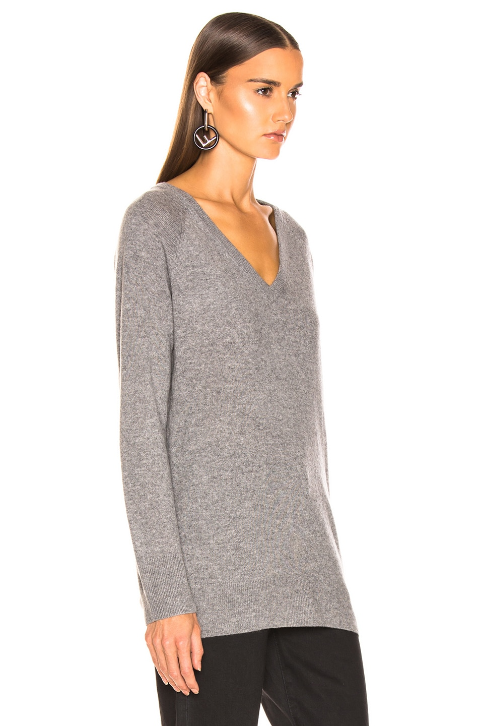 Image 2 of Equipment Asher Cashmere V Neck in Heather Gray