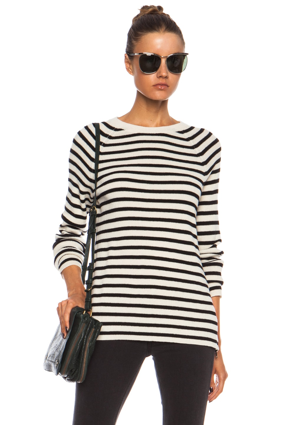 Image 1 of Equipment Lucien Striped Wool-Blend Sweater in Ivory & Black
