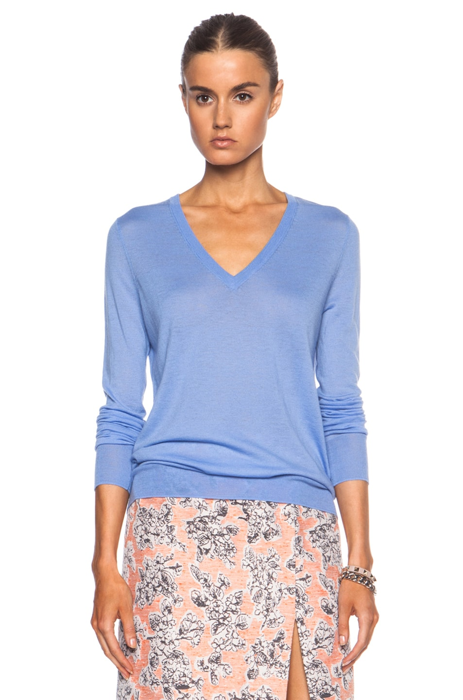 Image 1 of Equipment Cecile V Neck Wool-Blend Sweater in Jewel