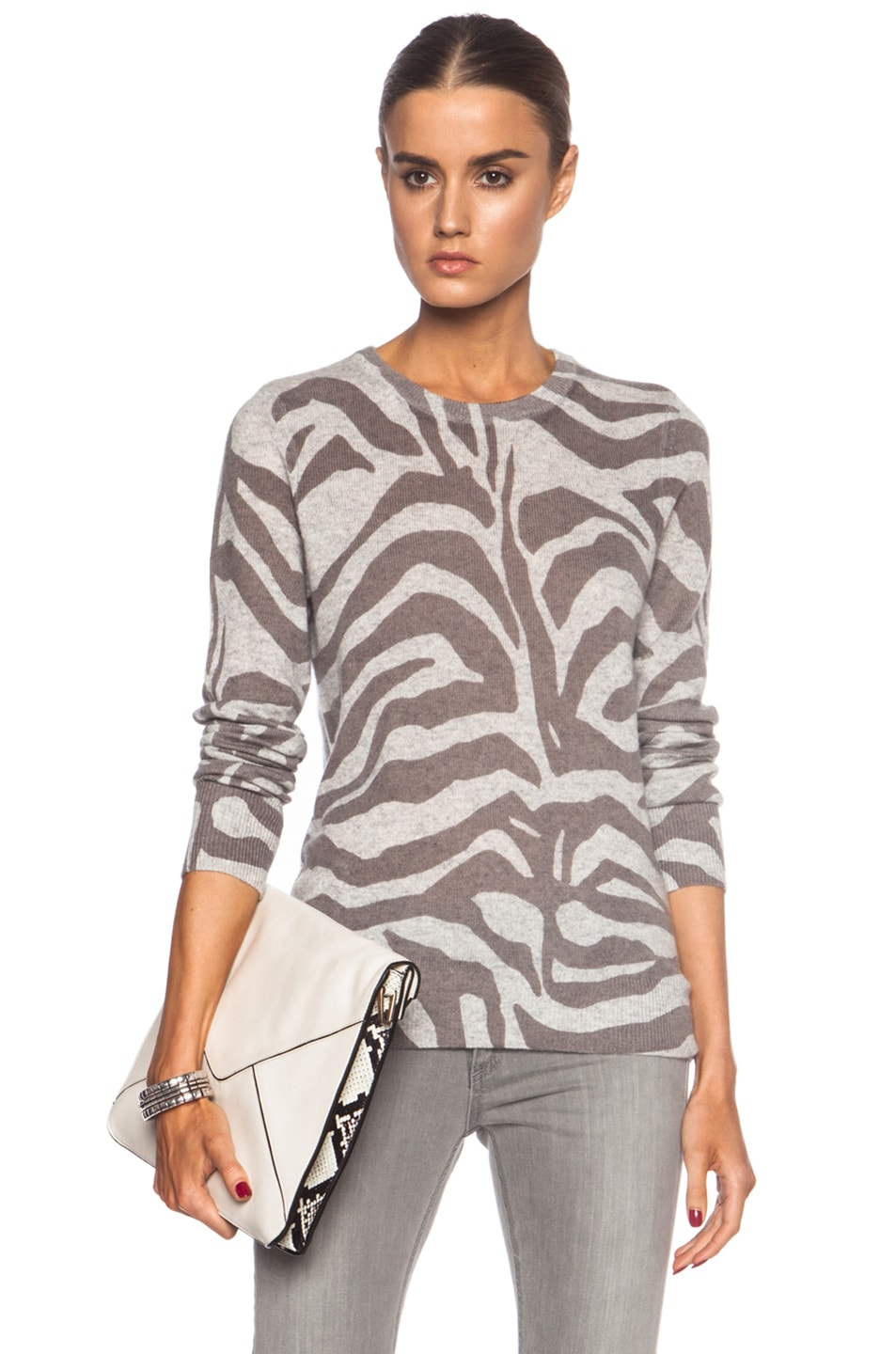 Image 1 of Equipment Shane Crew Neck Cashmere Sweater in Light Heather Grey