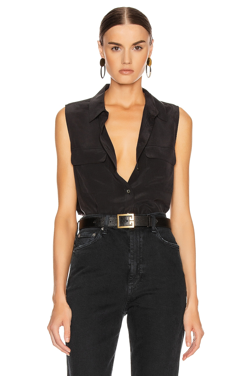 Image 1 of Equipment Slim Signature Top in True Black