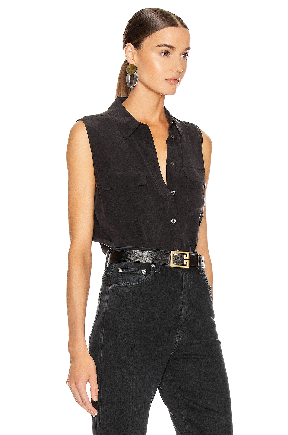 Image 2 of Equipment Slim Signature Top in True Black