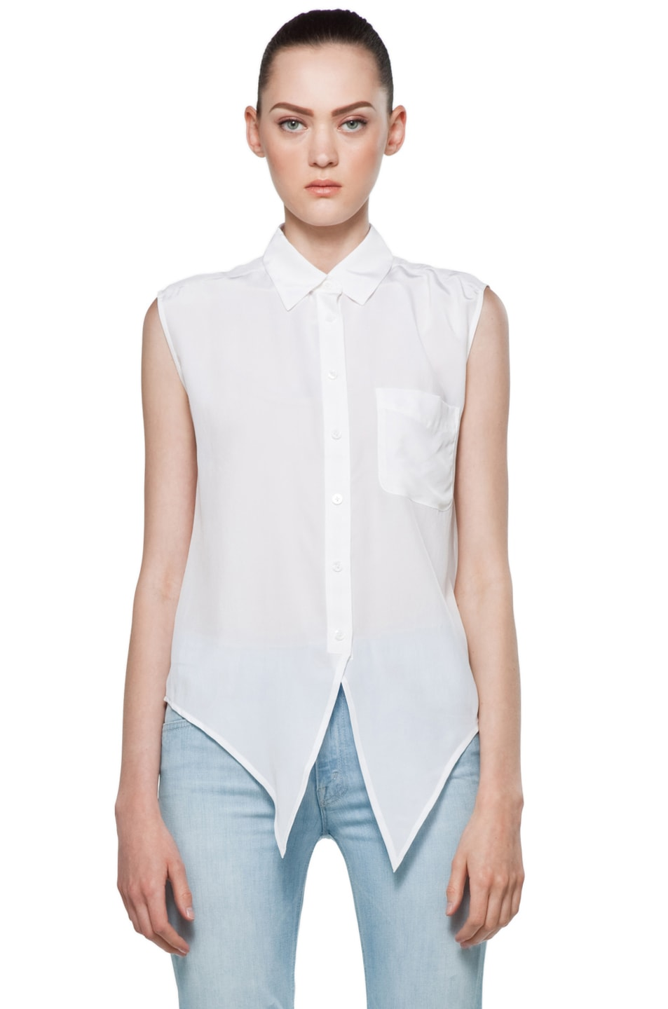 Image 1 of Equipment Diem Tie Front Blouse in Bright White