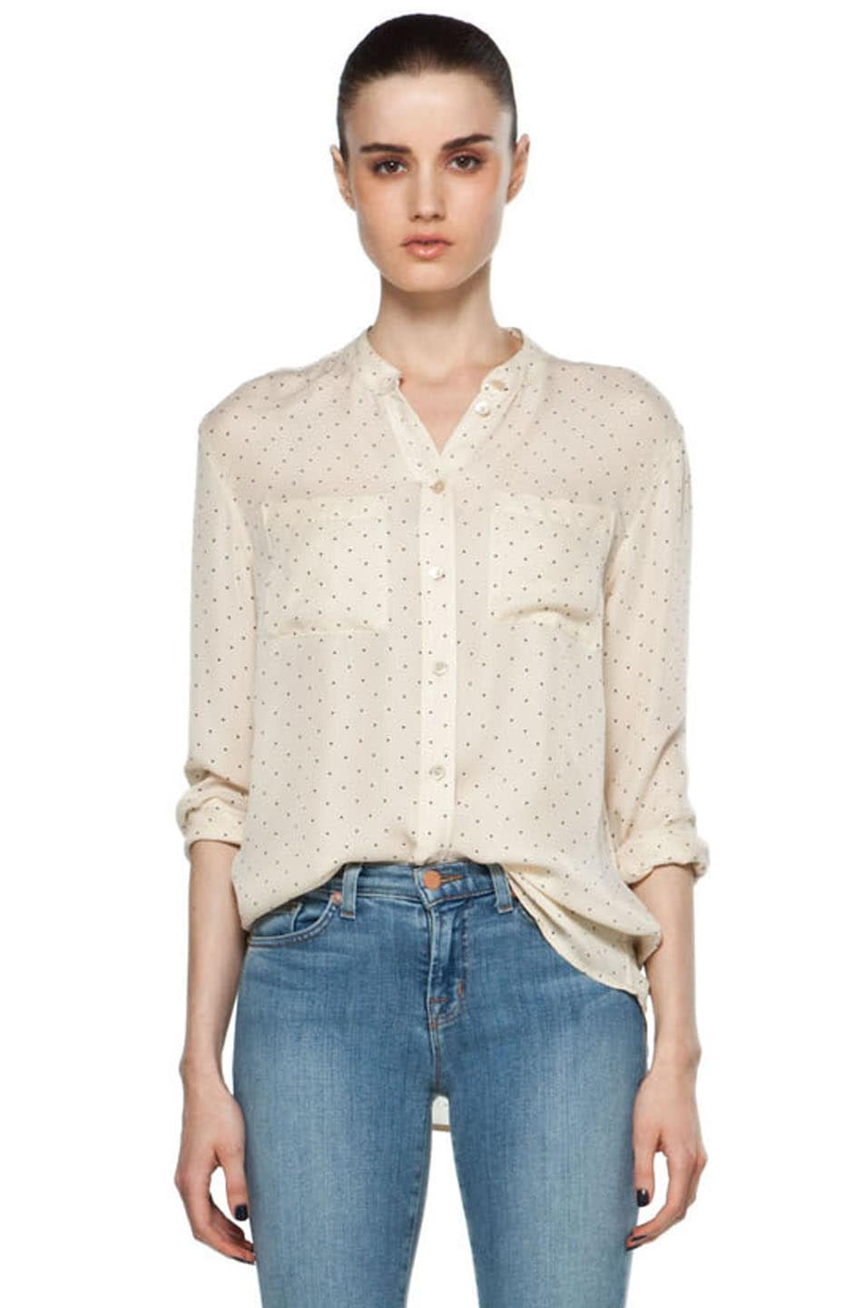 Image 1 of Equipment Bailey Pinpoint Blouse in Tapioca