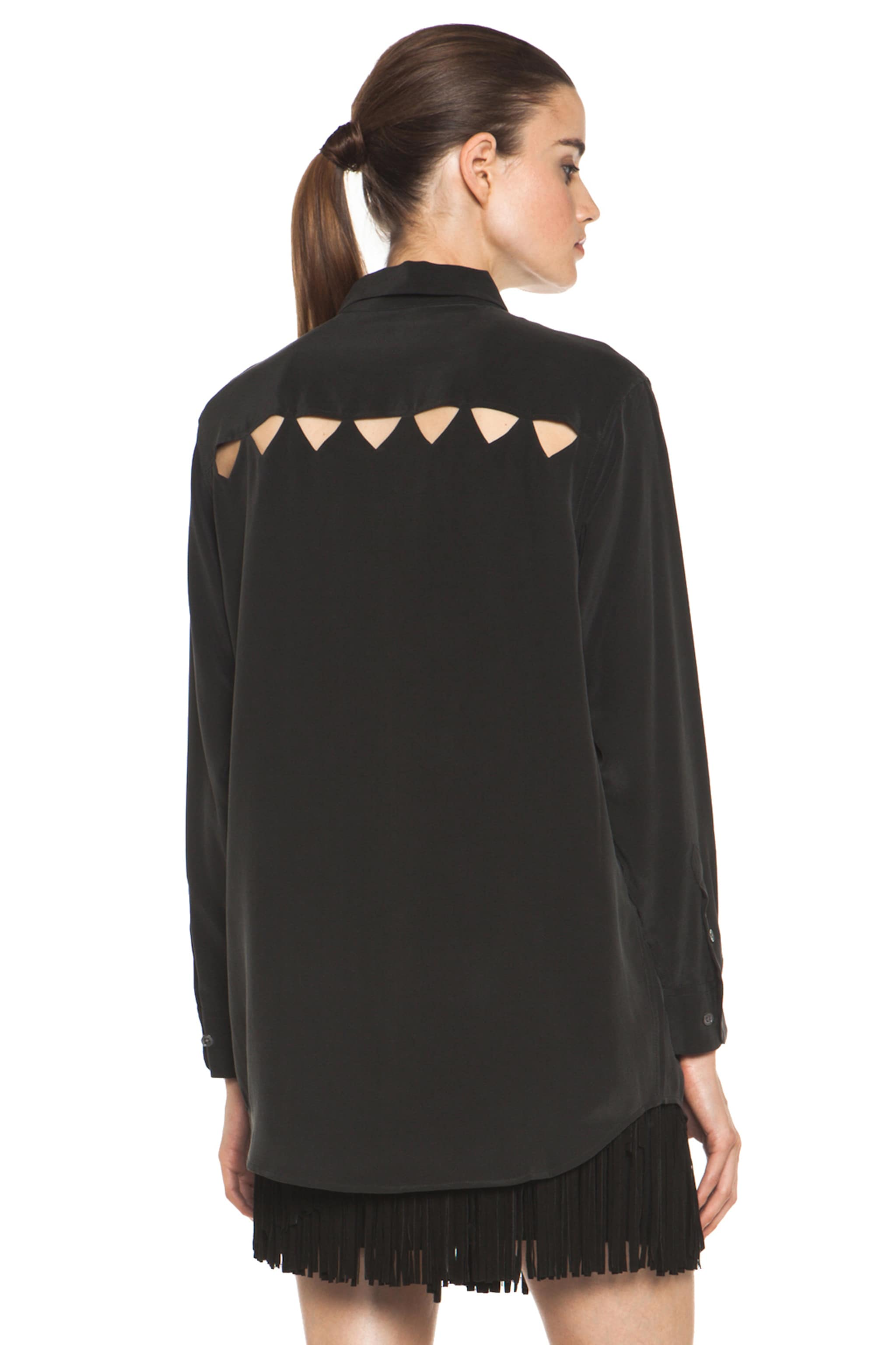 Image 1 of Equipment Daddy Cutout Blouse in Black