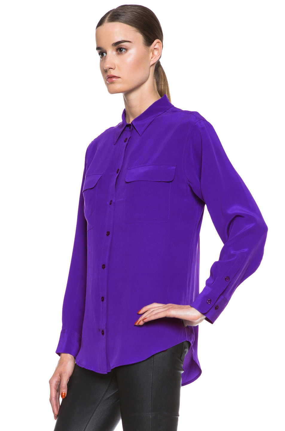 Image 2 of Equipment Signature Silk Blouse in Deep Blue