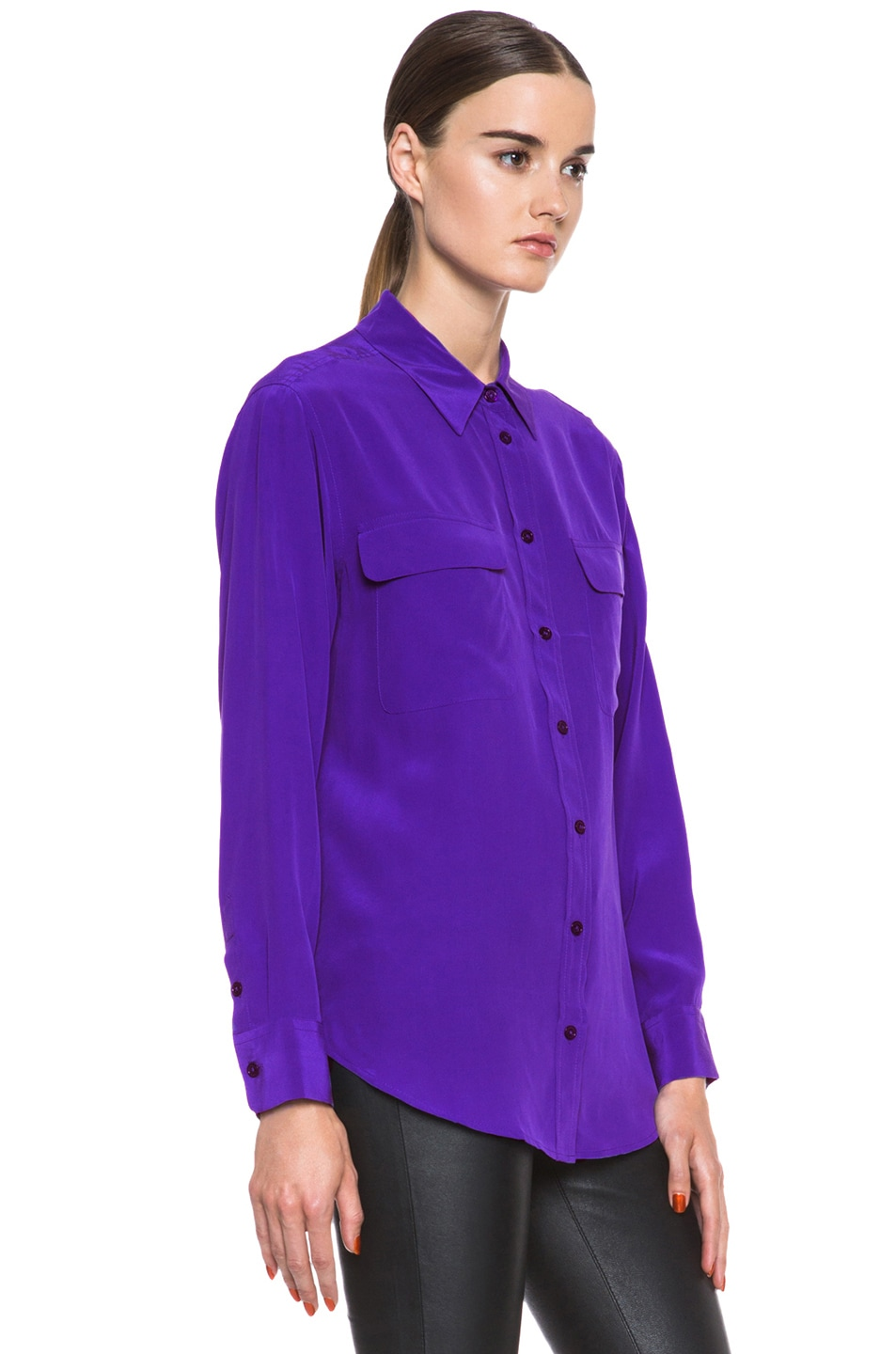 Image 3 of Equipment Signature Silk Blouse in Deep Blue