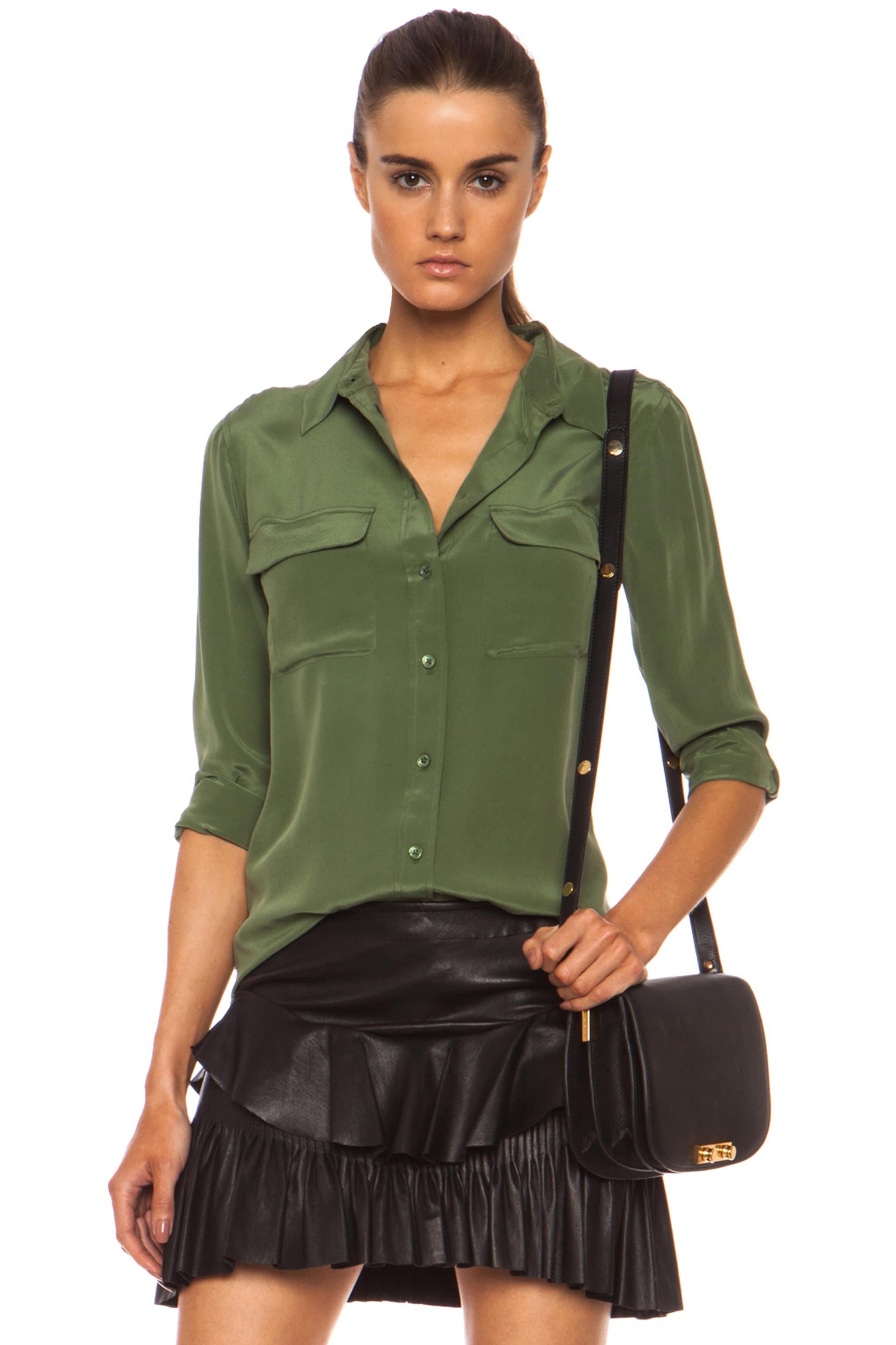 Image 1 of Equipment Slim Signature Silk Blouse in Military Green