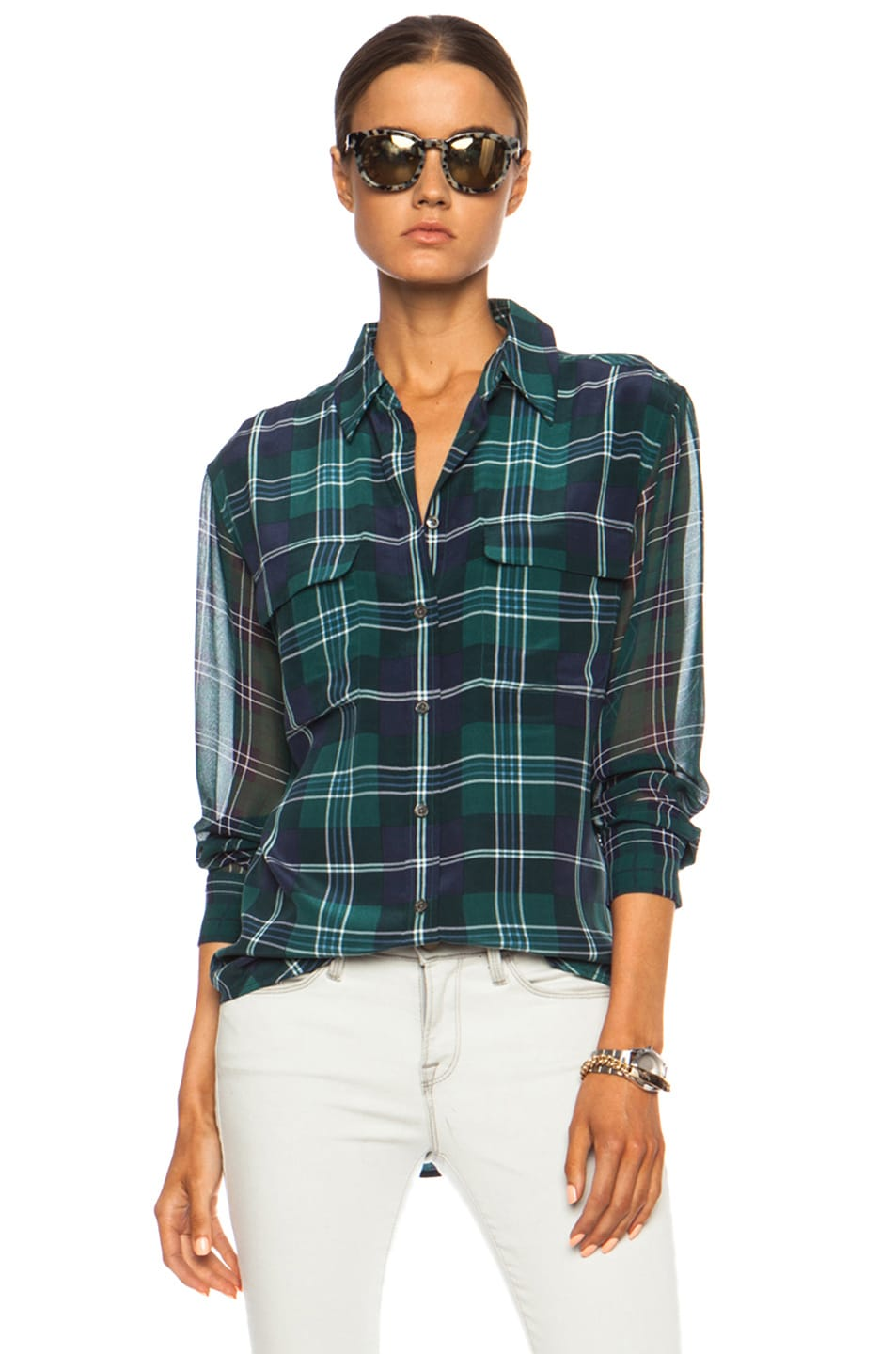 Image 1 of Equipment Signature Prepster Plaid Silk Blouse in Pine Multi