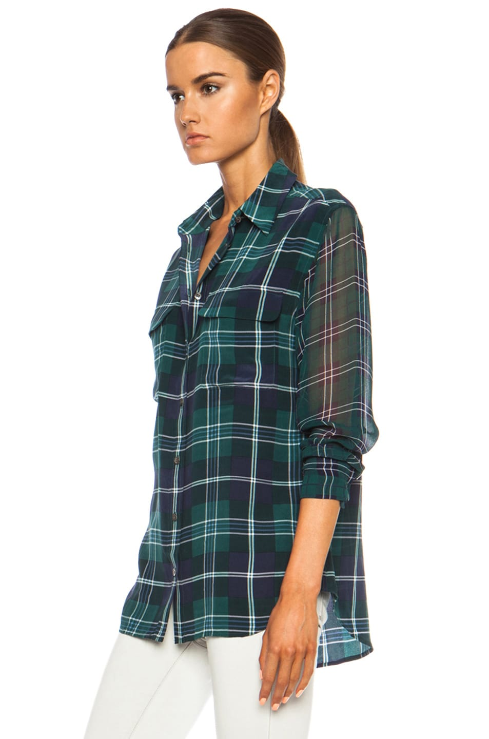 Image 2 of Equipment Signature Prepster Plaid Silk Blouse in Pine Multi