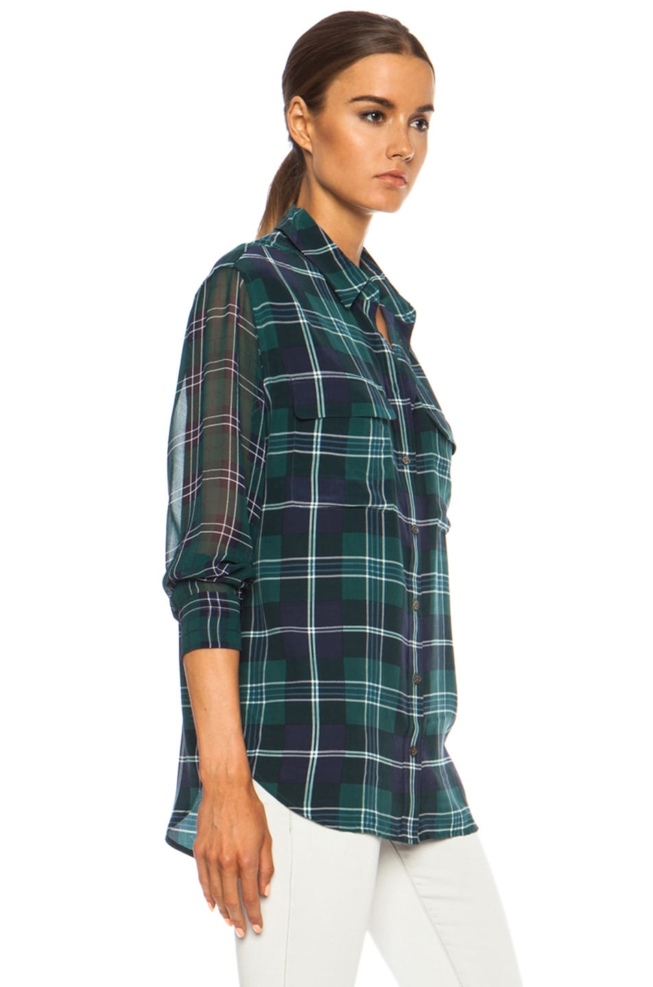 Image 3 of Equipment Signature Prepster Plaid Silk Blouse in Pine Multi