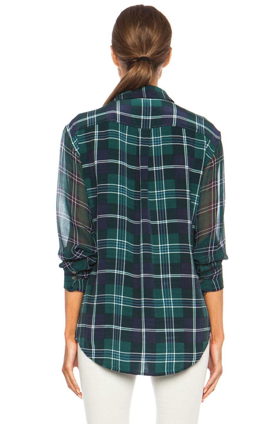 Image 4 of Equipment Signature Prepster Plaid Silk Blouse in Pine Multi