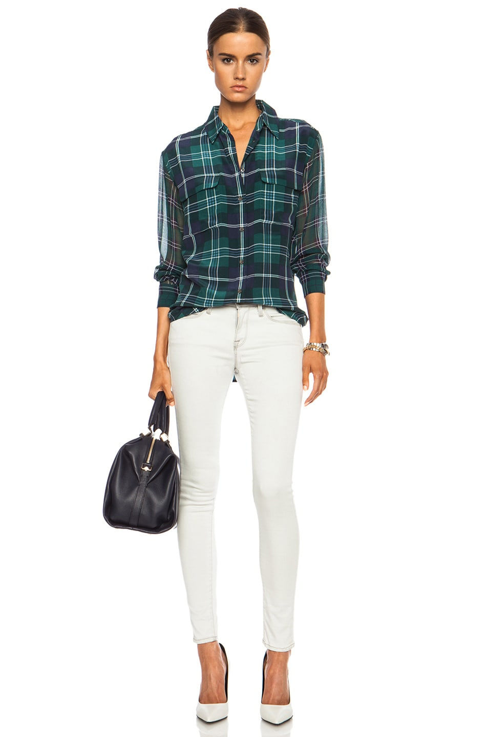 Image 5 of Equipment Signature Prepster Plaid Silk Blouse in Pine Multi