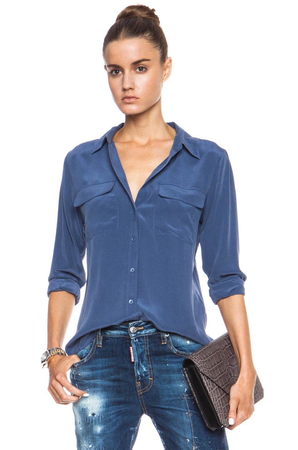 8178050badf6cf Image 1 of Equipment Slim Signature Silk Blouse in Crown Blue