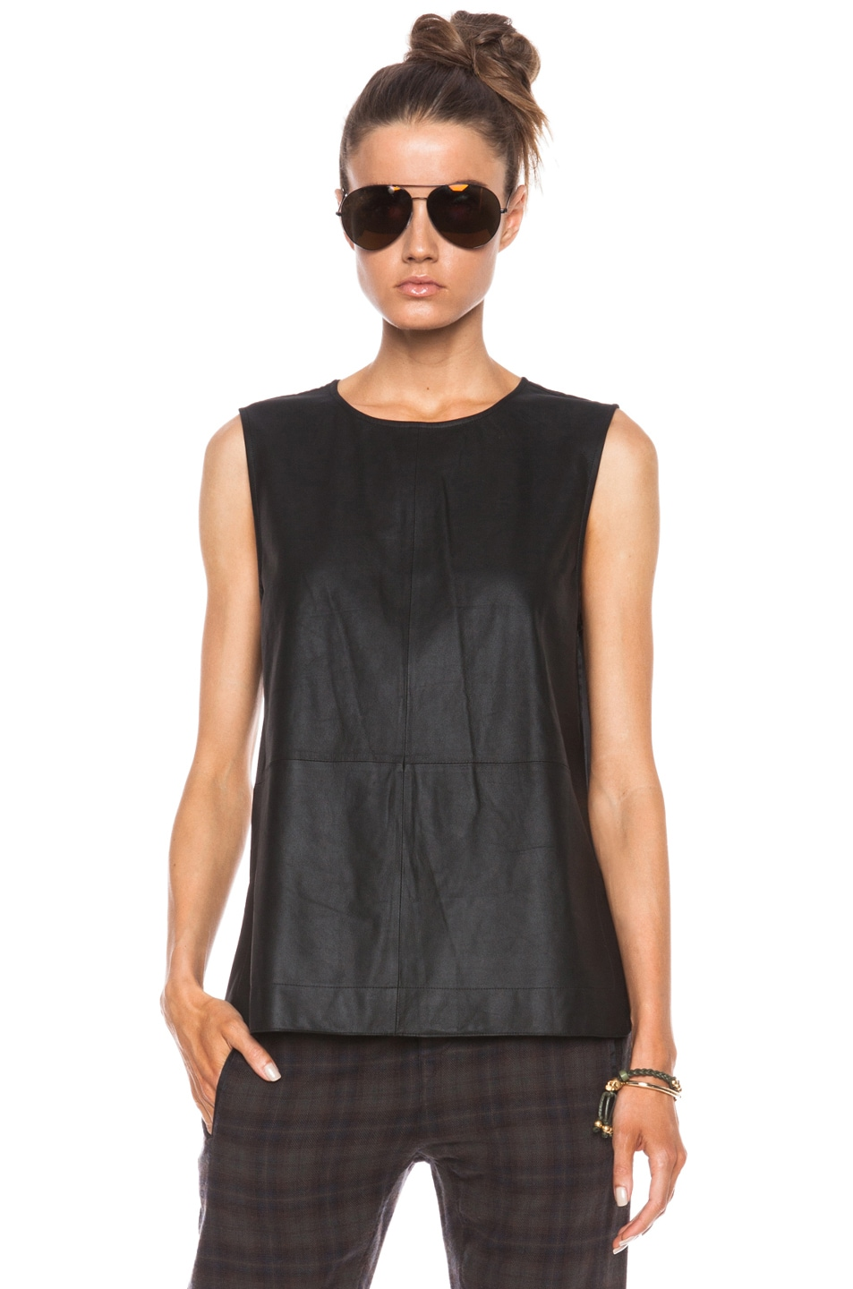 Image 1 of Equipment Kyle Leather Tank in True Black