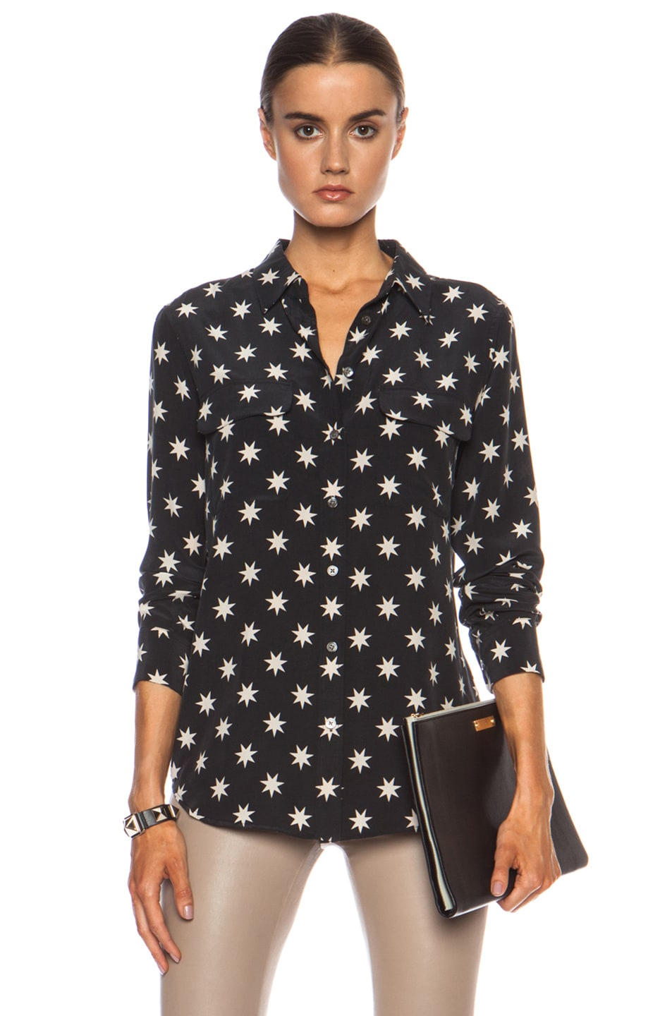 Image 1 of Equipment Slim Signature Star Silk Top in Black