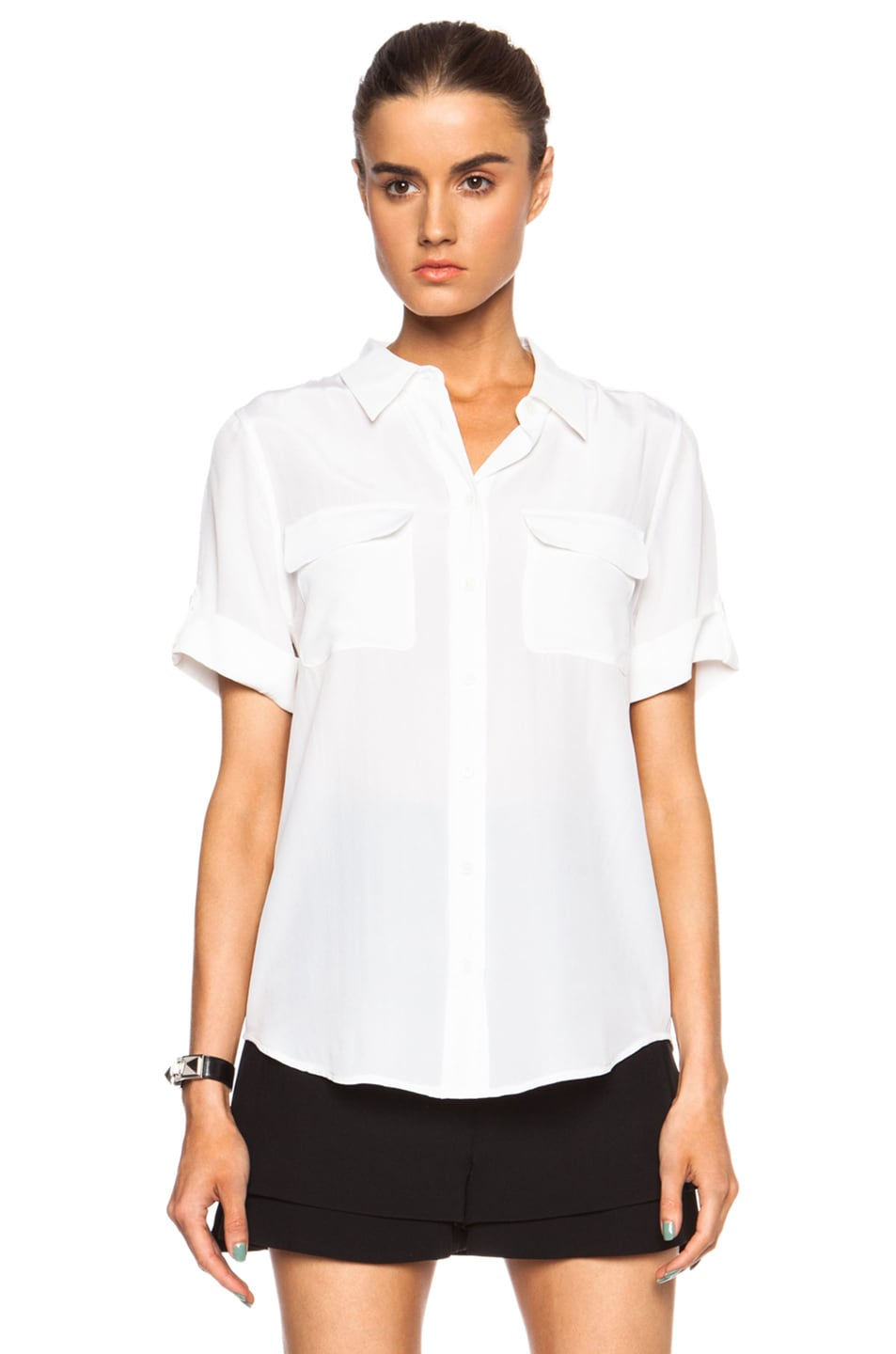 1faf606698488a Image 1 of Equipment Short Sleeve Slim Signature Silk Top in Bright White