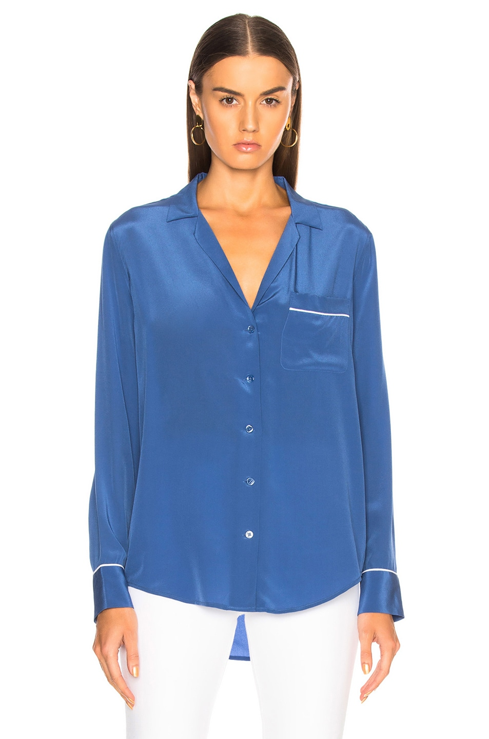 Image 2 of Equipment Keira Blouse in Letterman Blue