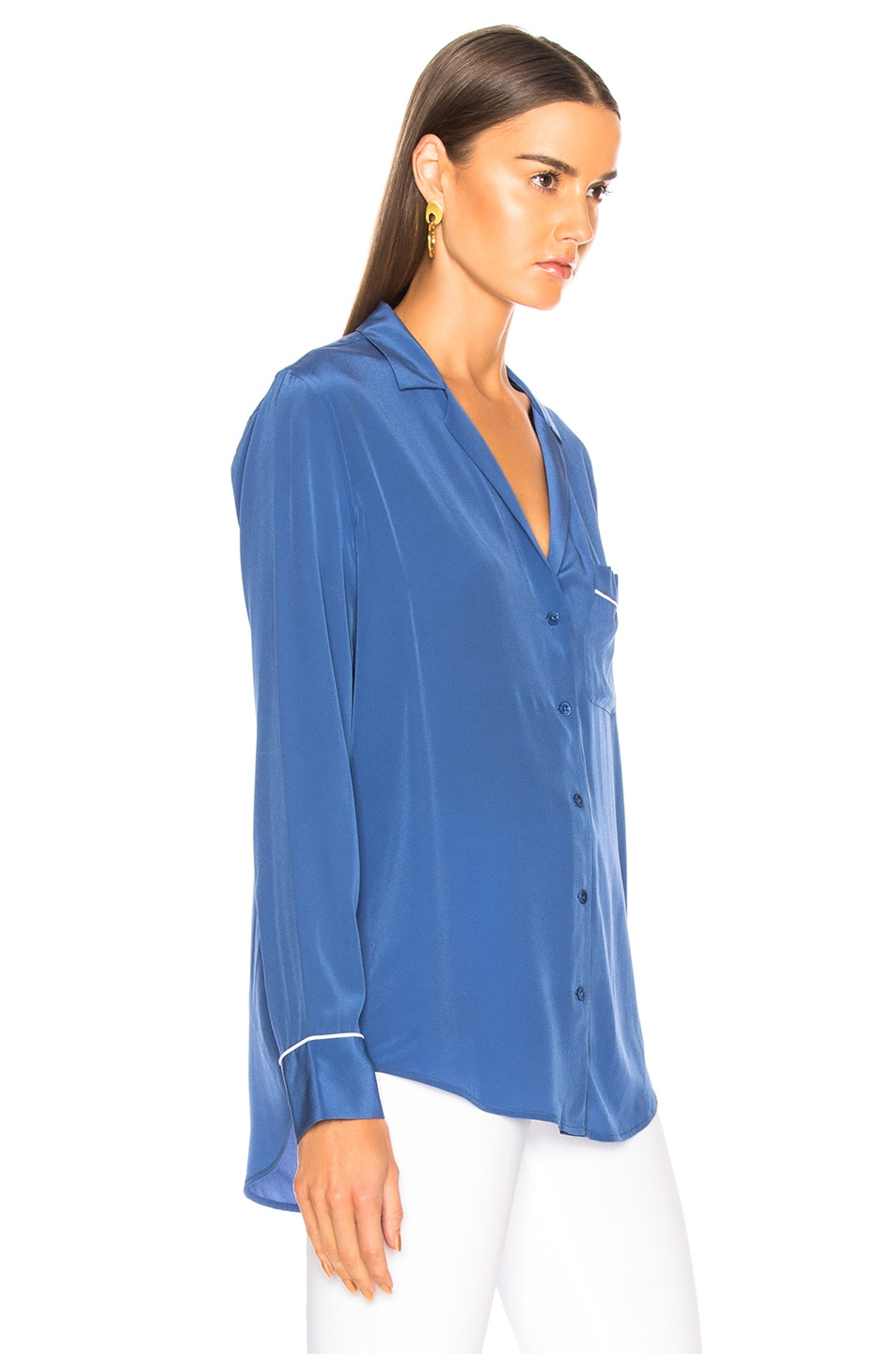 Image 3 of Equipment Keira Blouse in Letterman Blue