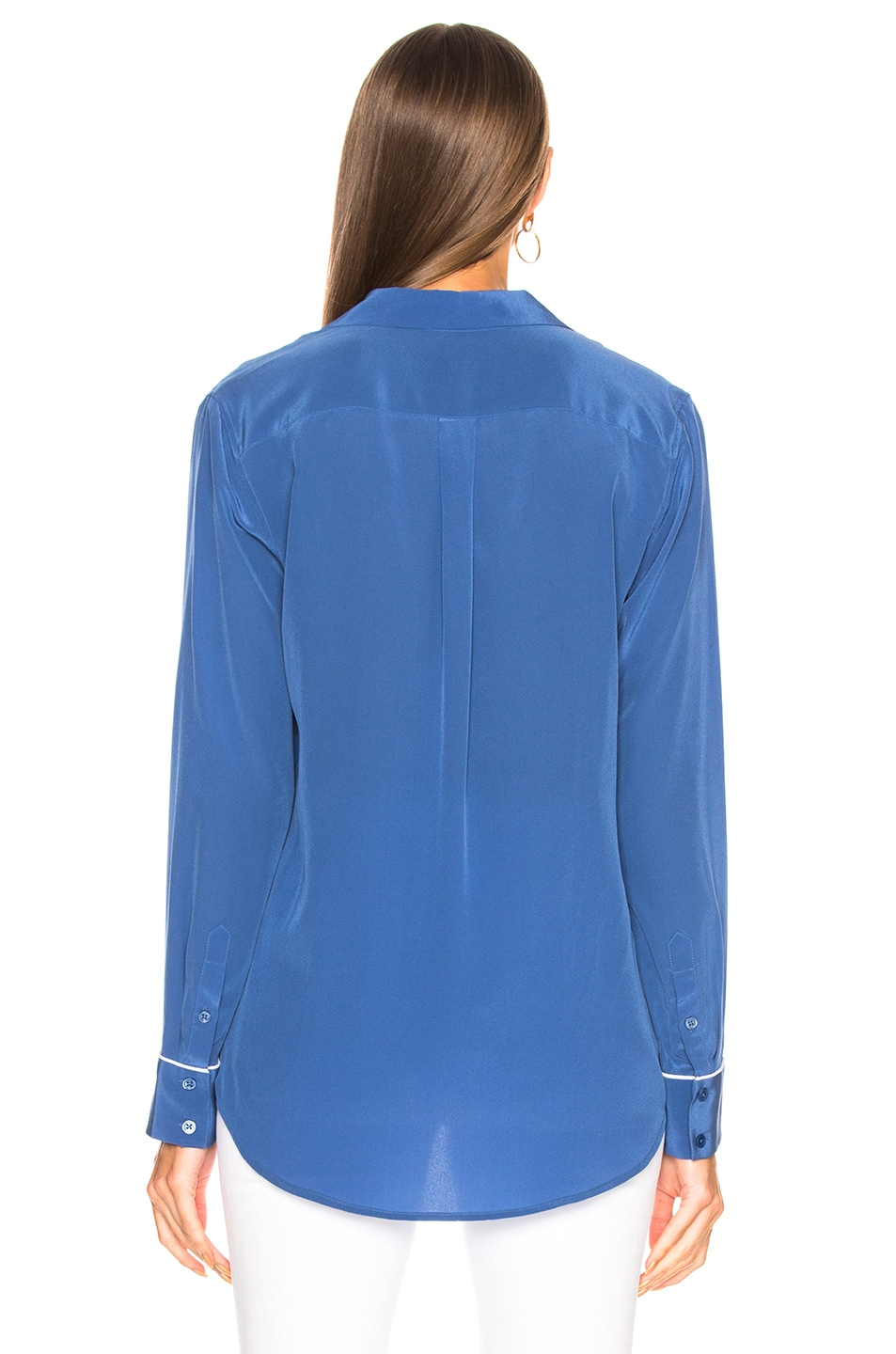 Image 4 of Equipment Keira Blouse in Letterman Blue