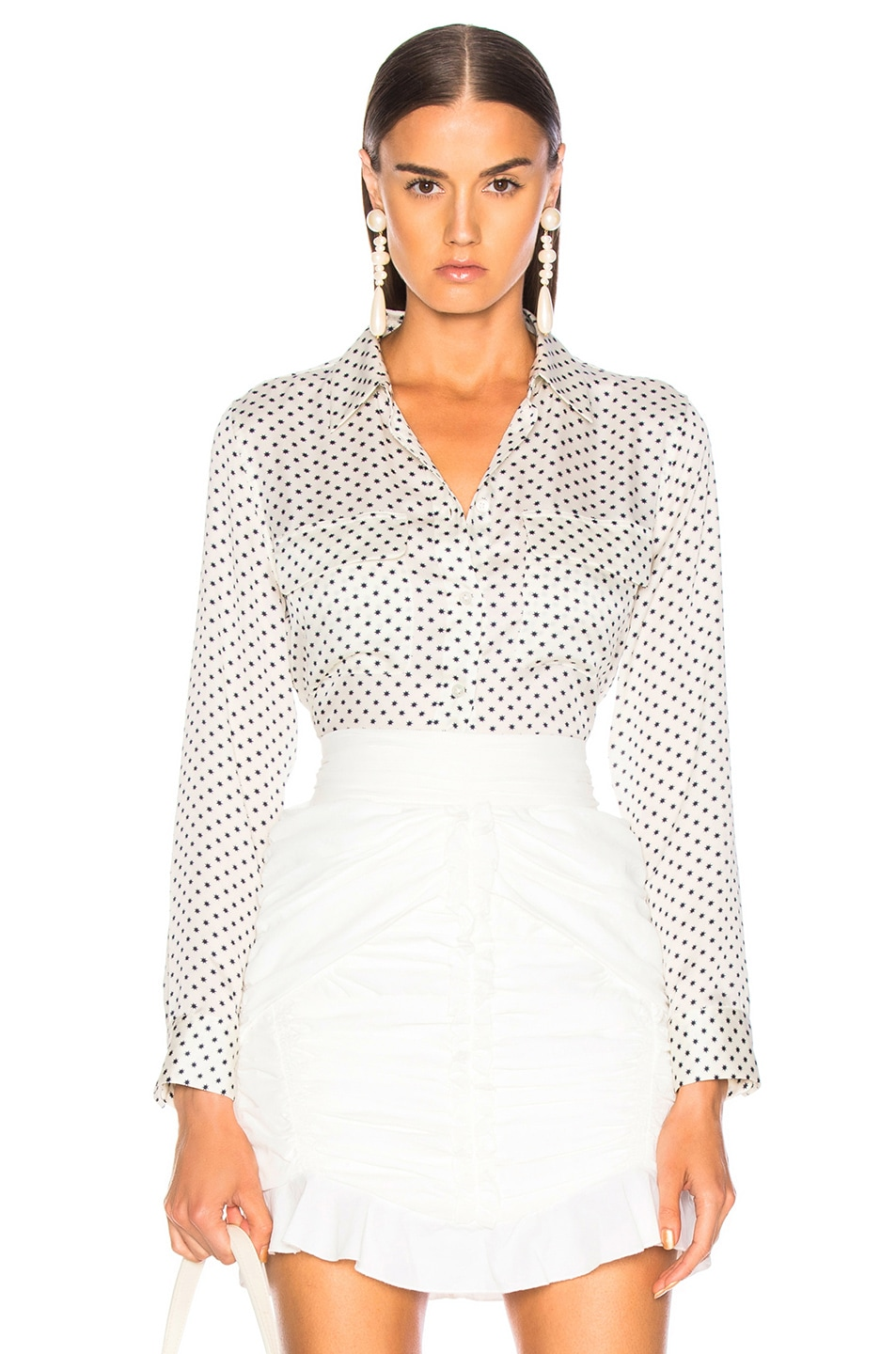 Image 1 of Equipment Slim Signature Blouse in Natural White & Eclipse