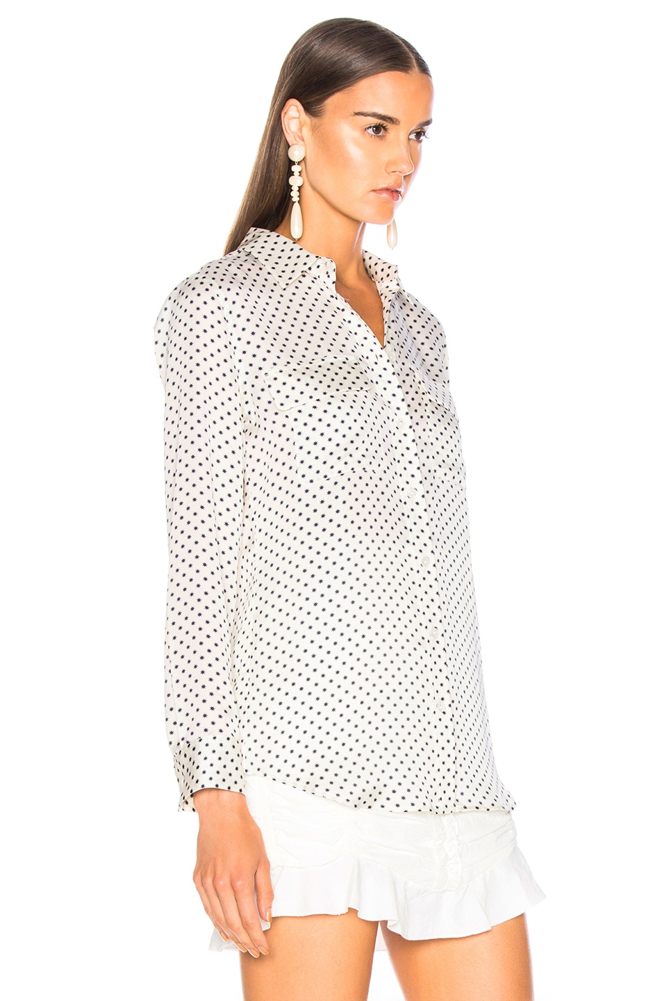 Image 2 of Equipment Slim Signature Blouse in Natural White & Eclipse