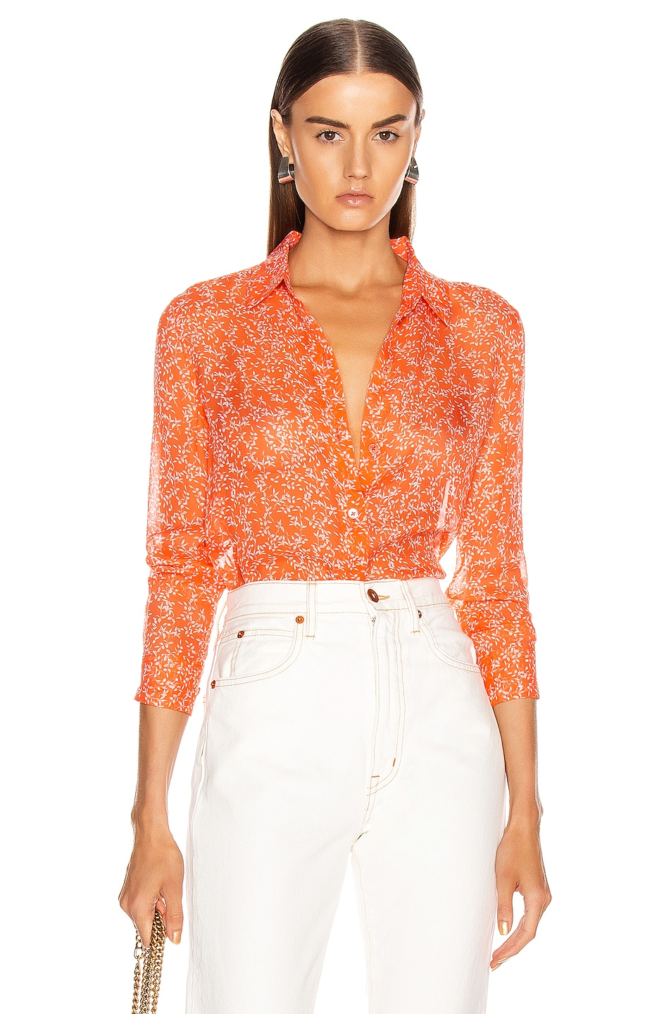 Image 1 of Equipment Essential Top in Hot Coral & Bright White